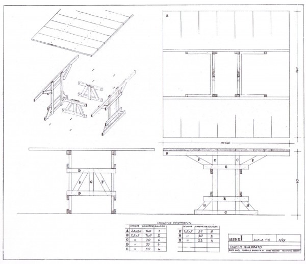Tavolo quadrato