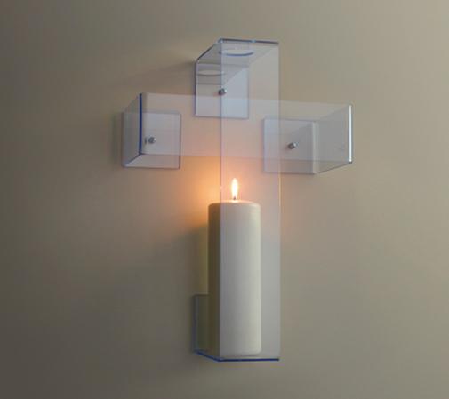 &#8220;Luce&#8221; &#8211; croce<br/>croce in acrilico fluorescente<br/>prototipo BASILE ARTECO (2014)